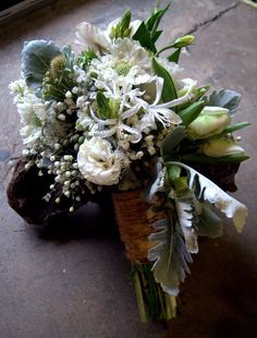 White Bohemian Wedding Bouquet via Rose Red & Lavender