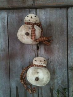 PRIMITIVE CHUBBY ROLLY POLLY SNOWMAN ORNIES DP;; FEEDSACK FABRICS GRUNGY GRUBBY in Antiques | eBay