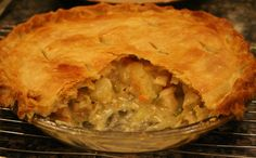 Chicken pot pie with flakey homemade crust.