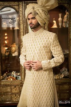 Nauman Afreen Groom Wedding Sherwani Designs Latest Collection include sherwanis in new styles and designs for Indian, Pakistani and Asian Men! Sherwani For Men Wedding, Wedding Dresses Men Indian, Wedding Outfits For Groom, Sherwani Groom, Wedding Dress Men, Wedding Groom, Wedding Suits, Sabyasachi, Models
