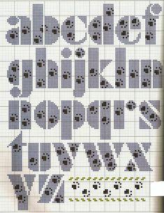 Paw Print Alphabet / Alfabeto com patinhas / patas / ponto Cruz / paw cross stitch