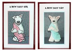 English Bull Terrier Baby Card 2 designs to by PeculiarPals