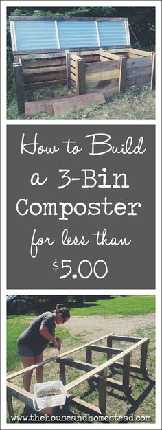 A 3-bin composter allows you to mix organic green and brown waste in one compartment, turn it in another, and store your finished, ready-to-use compost in another. And the best part is, you can build one yourself with recycled materials for next to nothing! #compostbin #frugalliving #frugal