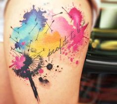 Awesome full colors watercolor tattoo style of Dandelion motive done by artist Pablo Ortiz Tattoo