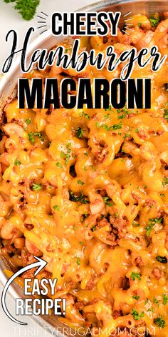 This Cheesy Hamburger Macaroni combines ground beef, macaroni, tomato juice, Worcestershire sauce and apple cider vinegar and then tops it all with melted cheese.  It's kid friendly and the perfect recipe for a weeknight dinner! Check it out and add it to this week's menu! #thriftyfrugalmom #easyrecipe #hamburgermacaroni Macaroni Recipes, Beef Macaroni, Pasta Recipes, Cookbook Recipes, Meat Recipes, Hamburger Recipes, Frugal Meals, Easy Meals, Cheap Meals