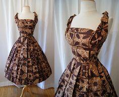 Killer 1950's brown tribal print cotton Hawaiian Shaheen new look sun dress tiki pin up girl rockabilly - size XS to Small. $198.00, via Etsy.