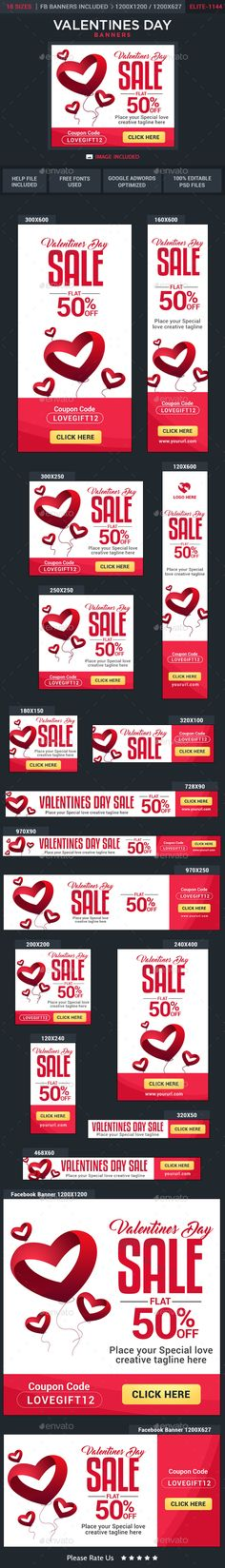 Valentines Day Sale Web Banners Template PSD #ads Download here: http://graphicriver.net/item/valentines-day-sale-banners/14752761?ref=ksioks