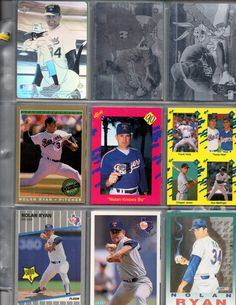 Nolan Ryan - 100 Different Baseball Cards - HOFer - 5,000 Strike Outs - 7 No-Hitters - Houston Astros - Texas Rangers by ChicksOnTheFarm on Etsy