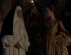 "Mother Hildegarde (Frances de la Tour) and Louise de Rohan (Claire Sermonne) in Episode 207 ""Faith"" of Outlander Season Two on Starz"