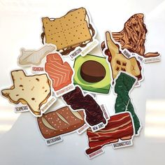 The pack includes your choice of six of the following states: S'moregon, Avocolorado, Fishigan, Kaleifornia, New Pork, New Jerky, Texmexas, Piedaho, Pretzelvania, and Baconnecticut. Get six from The Foodnited States for $14.