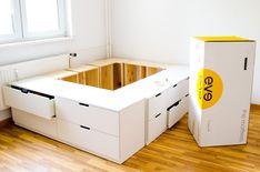 DIY IKEA HACk - Bed platform built from Ikea dressers / adverts - Decoration - . DIY IKEA HACk - Bed platform built from Ikea dressers / adverts - Decoration - DIY IKEA HACk – Bed platform built from Ikea dressers / adverts, Ikea Chest Of Drawers, Ikea Dresser, Bedroom Drawers, Bedroom Storage, Bed Storage, Diy Dressers, Ikea Storage Bed Hack, Diy Beds With Storage, Full Size Storage Bed