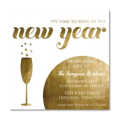 new years eve party invitation gold champagne new years cocktail party invitation
