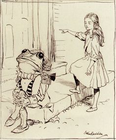 Alice and The Frog Footman, by Arthur Rackham.