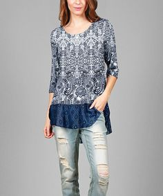 6393eaffa17 This Blue   White Ruffle-Hem Tunic is perfect!  zulilyfinds