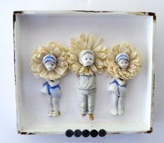 Stampington Prompt #18 - A project started and finished in one day - OOAK Antique Doll Mixed Media Shadow Box by Studiomoonny on Etsy