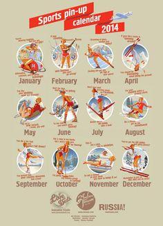 Soviet Posters + American Pin-ups = 2014 Olympics Calendar | www.eklectica.in