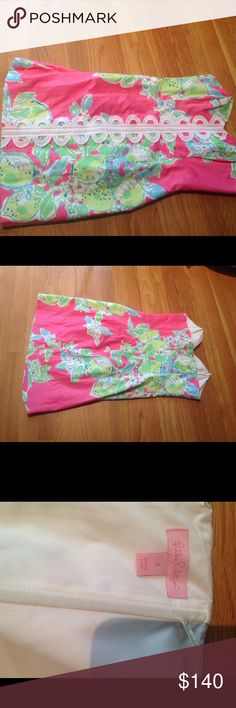 Lilly Pulitzer Angela Strapless Dress sz 2 Lilly strapless Angela shift dress size 2 in Hotty Hot Pink Lemonade . Super cute for summer. Only worn twice. Rare! Lilly Pulitzer Dresses Strapless
