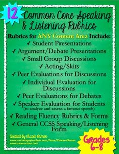 Common Core Speaking & Listening Rubrics Bundle for Grades 6-8 - use for any content area; covers several different types of speeches and presentation, including reading fluency.