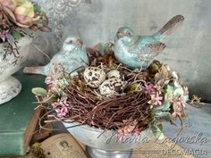 Birds in a bowl! - Natural style decoration by Maja Zagorska (Decomagia) with bird nest, natural eggs and ceramic birds. Ceramic Birds, Ceramics, Nest, Nature, Eggs, Painting, Decoration, Style, Rabbits