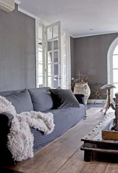 grey living room. Love the grays and blues and bright white
