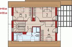 Rzut poddasza projektu Lea (wersja A) bianco Home Building Design, Building A House, Pergola, Floor Plans, Villa, Constitution, Action, Social Housing, Projects