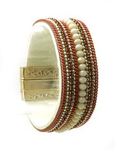LINED GLASS STONE FAUX SUEDE BAND BRACELET