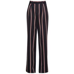 French Connection Stripe Wide Leg Trousers, Black/Multi (150 AUD) ❤ liked on Polyvore featuring pants, cotton pants, striped wide leg pants, wide leg trousers, french connection pants and french connection