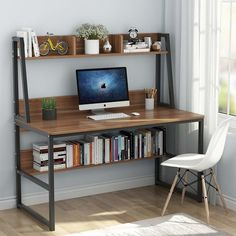 Tribesigns Computer Desk with Hutch and Bookshelf, 47 Inches Home Office Desk with Space Saving Design for Small Spaces, Retro Brown Home Office Setup, Home Office Desks, Home Office Furniture, Furniture Design, Design Desk, Furniture Nyc, Office Workspace, Studio Design, Pallet Furniture