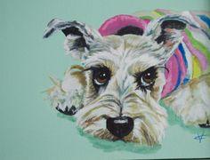 dog painting dog art schnauzer painting dog by VictoriaColemanArt