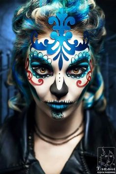 Unique Halloween Face Paints Ideas For Kids Men & Women 2018 - Idea Halloween Sugar Skull Makeup, Sugar Skull Art, Sugar Skulls, Glam Rock, Zombies, Harley Quinn, Rock Bands, Dead Makeup, Day Of The Dead Skull