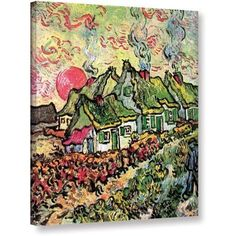 Vincent Van Gogh Cottages Reminiscent Of North Wrapped Canvas Art, Size: 24 x 32, Green