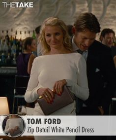 Tom Ford Zip Detail White Pencil Dress as seen on Carly Whitten in The Other Woman | TheTake