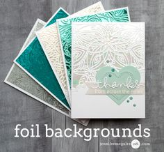 Hello! Today I share a fun new way to create foiled backgrounds using both stamps and stencils. They are simple and fun! I have lots of examples for you... along with a blog hop and giveaway.