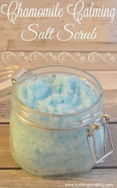 Chamomile Calming Salt Scrub #ad, #EarthlyElements, Chamomile Calming Salt Scrub, salt scrub recipe, easy salt scrub, salt scrub gifts, DIY salt scrub, Chamomile salt scrub, chamomile essential oil