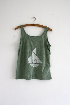 origami applique, must be tried with liberty!! -triangle boat tank top from etsy