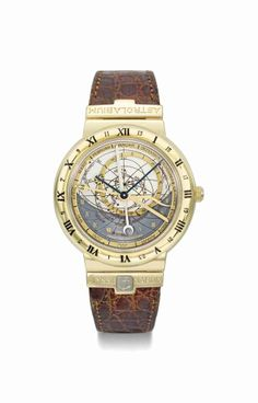 Ulysse Nardin. A fine and rare 18K gold automatic perpetual calendar astronomical wristwatch, circa 1990 #ChristiesWatches