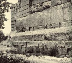 Baalbek Acropolis in Beirut Lebanon contains three huge stone that are 70 x 14 x 12 feet in size. They weigh        approximately 1000 tons each. The quarry was in a distant valley and were moved uphill to their position. A fourth stone, weighing 1400 tons is still in the quarry. The building was never finished and the Romans later built a temple on top of it. It was built around 10,000 to 12,000 BC.