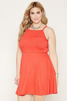 b3d7decb9589 Forever 21+ - A ribbed knit skater dress with cami straps