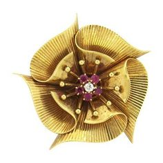 Classic Retro 14k Gold Diamond Ruby Brooch Pin