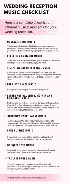 Wedding Reception Music Checklist