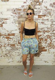Vintage 90's Crazy print Summer Surf Shorts.