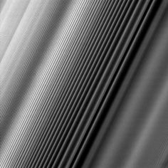 "FINE-SCALE WAVES IN SATURN'S RINGS Cassini took this photo on June 4, 2017, close to periapsis on its seventh ""Grand Finale"" orbit, when it passed between the planet and the rings. It has been cleaned of cosmic ray hits and detector noise."