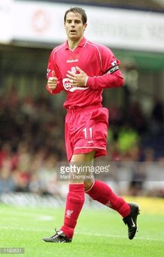 Jamie Redknapp of Liverpool in action during the FA Barclaycard Premiership match against Leicester City played at Filbert Street in Leicester England Liverpool won the match 41 Mandatory Credit Mark...