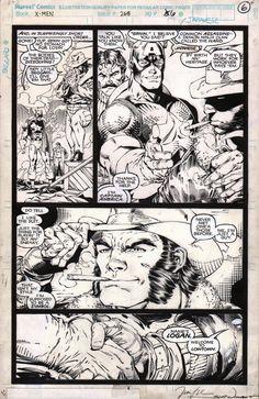 Uncanny X-men #268 pg.6 by Jim Lee & Scott Williams Comic Art Comic Book Pages, Comic Book Artists, Comic Artist, Comic Books Art, Jim Lee Art, Drawing Superheroes, Wolverine Art, Superhero Coloring, Black And White Comics