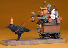 "Halloween folk art  wood carving ""Hay Ride"" by The Whimsical Whittler"