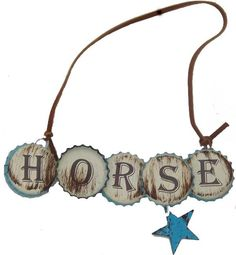 "Very cute weathered white color with bottlecaps spell ""horse"" cowboy blue…"