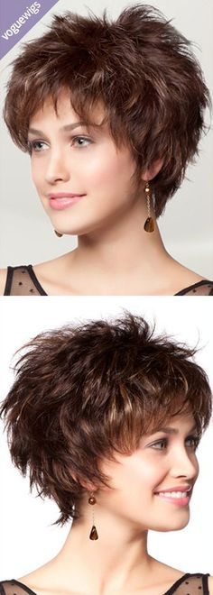 Want subtle edge to your beauty routine? The Brianna Synthetic Wig by TressAllure is a short, spiky haircut embellished with finely razored layers. | voguewigs.com
