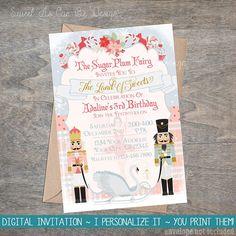 Nutcracker Invitation  Pink Gold Pale Blue digital