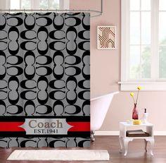 "New COACH Hot Fashion Gray Stripes Custom Shower Curtain 60"" x 72"" #Unbranded #Modern #Best #Design #Cheap #Gift #Beautiful #Showercurtain #valentaingift"
