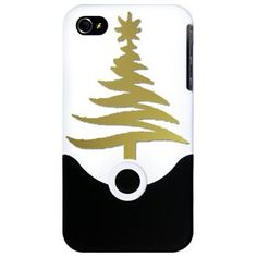 Stencil #Christmas Tree Gold #iPhone Case by Lee Hiller